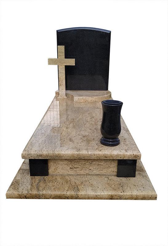 Nagrobek granitowy Madura Gold w połączeniu ze Szwedem