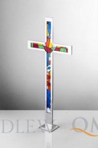 krzyż stojący witrażowy KS6w