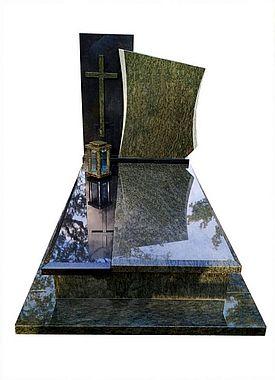 nagrobek granitowy z zielonego granitu i krzyże na pomnik
