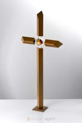 krzyż ze starego złota z kryształem KS13z