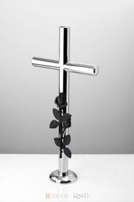 prosty krzyż stojący z różą z brązu 437